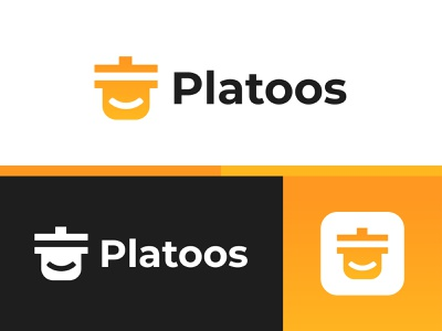 Platoos Logo Design app cooking smiley design logo design fresh restaurant meals fresh food cooked meal branding food delivery app food delivery food logo