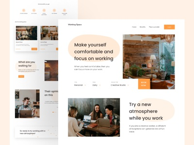 Working Space - landing Page website concept design inspiration design of the day illustration clean website design minimalist website design office space places coworking space ui design ui ux landing page working space