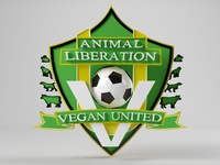 Animal liberation - vegan united - soccer team logo 3d V