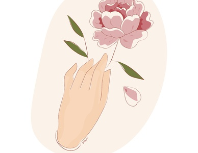Be Gentle kindness peony illustration digital illustration art illustration