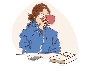 Morning Rituals: the longer the podcast, the more coffee I drink quiet podcast morning routine coffee illustration digital illustration art illustration