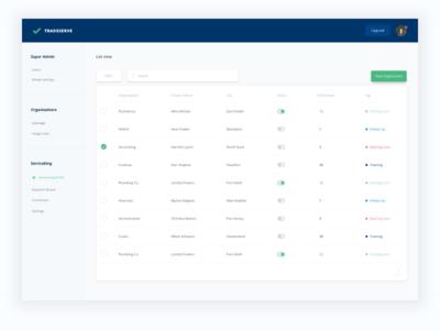 Tradeserve Dashboard saas application desktop stripe software clean ux ui list details dashboard admin
