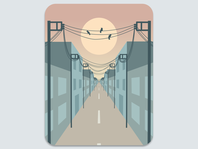 Vector Illustration Cable City at Sunset illustration vector illustration
