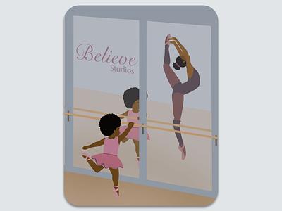Believe Studios Vector Illustration girl dancing ballerina ballet vector illustration vector illustration