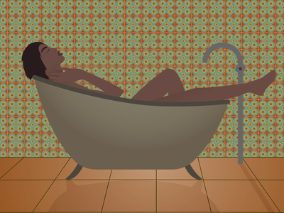 Woman Bathing in Retro Bathroom Vector Illustration patterns vintage tiles retro shadows gradients 70s 60s 50s bathroom bathtub woman vector illustration vector illustration