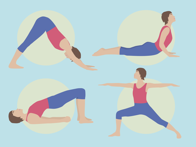 Vector Yoga Poses for a Yoga App stretching sports yoga pose yoga app yoga design vector illustration vector illustration