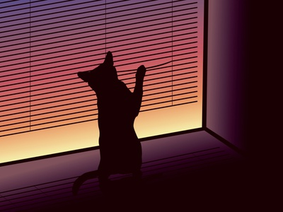 Cat by the Window blinds shadow sunset window cats cat gradient design vector illustration vector illustration