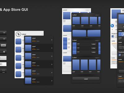 iOS6 iTunes & App Store GUI - FreePSD ios 6 gui button bar icon free psd item list apple iphone