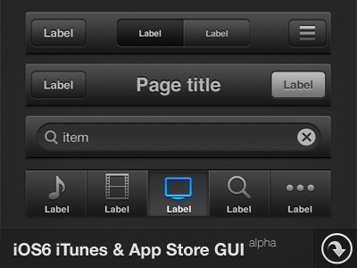 iOS6 iTunes & App Store GUI - FreePSD ios 6 gui button bar icon free psd item list apple iphone