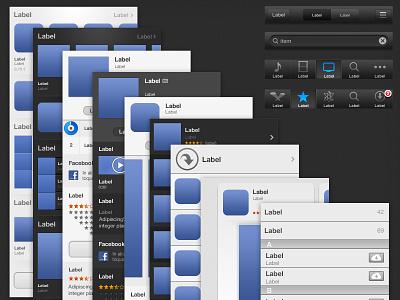 IOS 6 GUI - Itunes & App Store ui gui apple button list item app store itunes free freebie