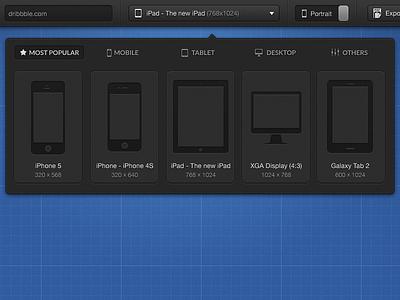 Choose a device... - mediaqueries.me ui dropdown responsive media queries mobile navigation tablet desktop