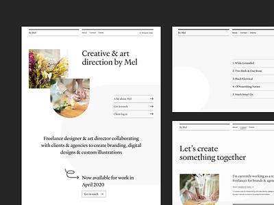 By Mel Desktop Screens minimal logo branding website web ux ui typography type design