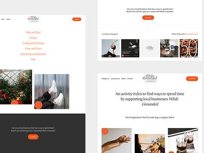 While Grounded, Landing Pages homepage menu navigation web design landing page desktop blog branding website web ux ui minimal design