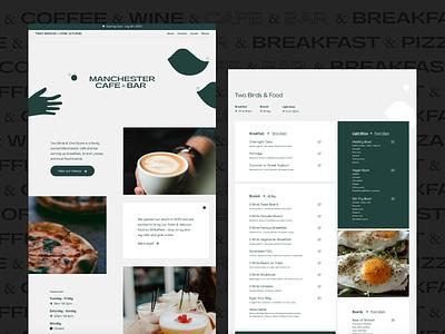 Two Birds & One Stone — Website Design illustration bar food menu modular clean design restaurant cafe home page landing page figma website design web design desktop web ux ui minimal design website