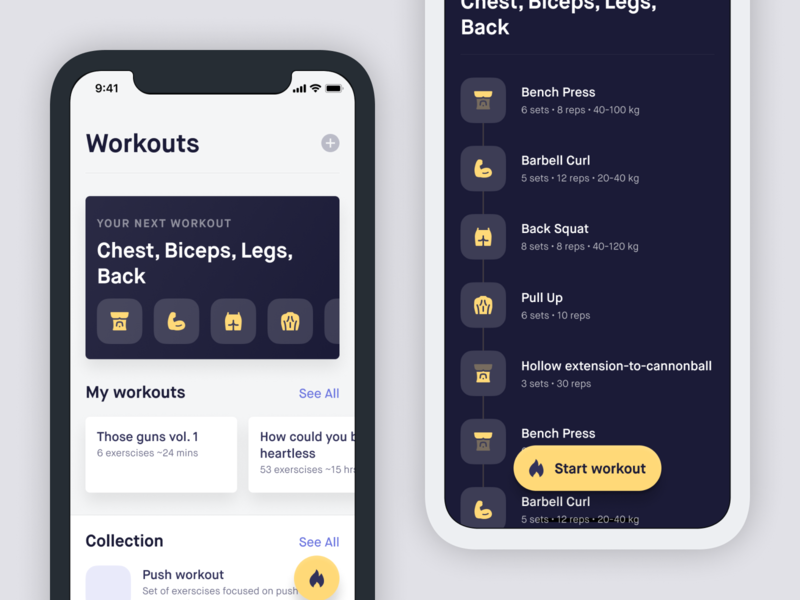 Workout tracker fitness ios flat app iphone ui ux user interface
