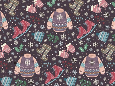 Winter's Tale seamless pattern christmas winter vector pattern seamless pattern pattern design design illustration colorful