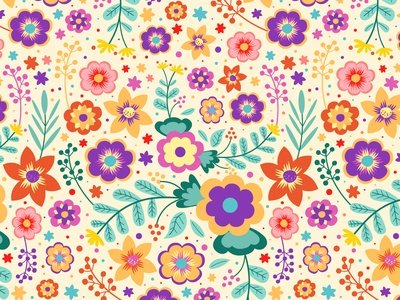 Joyful Blossom joyful blossom joful joy good vibes flowers floral vector seamless pattern pattern pattern design illustration design colorful