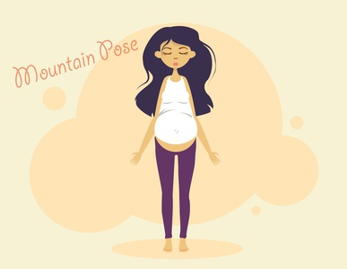 Mountain Pose mountain lifestyle pregnancy pregnant yoga flat illustration kammerel vector illustration