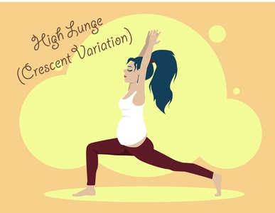 High Lunge  crescent variation sport woman girl people body lifestyle fitness healthcare health beauty flat illustration yoga yoga pose pregnant pregnancy kammerel vector illustration