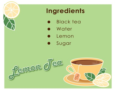Lemon Tea website flat yellow green tea ingredients leaf lemon sugar beverage cup black tea recipe kammerel vector illustration