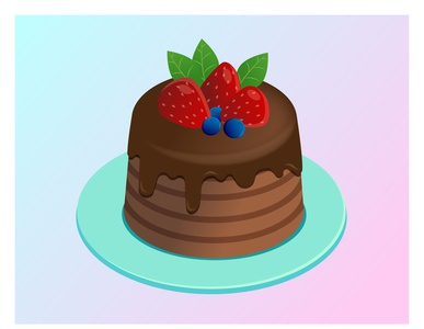 Chocolate Cake birthday cake brown blue plate cream blueberry strawberry mint chocolate cake flat flat illustration kammerel vector illustration