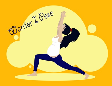 Warrior I Pose healthcare yellow yoga pose lifestyle health pregnant pregnancy yoga flat kammerel vector illustration