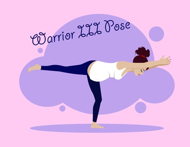 Warrior III Pose sport girl woman lifestyle healthcare yoga pose pregnant pregnancy yoga flat flat illustration vector kammerel illustration
