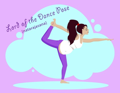 Lord of the Dance Pose lifestyle healthcare yoga pose pregnant pregnancy yoga flat vector kammerel flat illustration illustration
