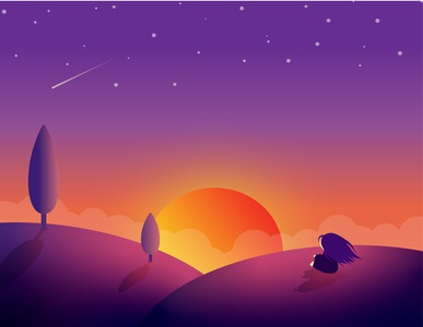 Sunset girl stars day night hill tree sunset sun kammerel flat illustration vector illustration