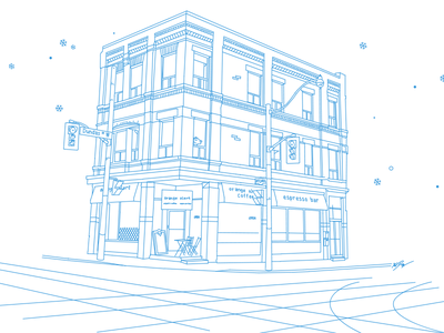 OK GROW! Office line art line mono blue office architecture city snow christmas christmas card home coolest cats