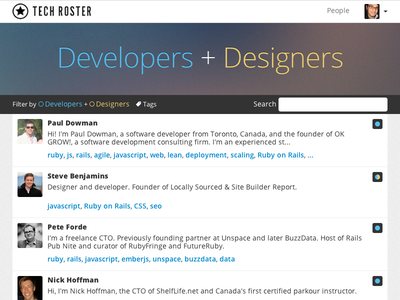 Toronto Tech Roster v2 toronto directory profiles lists people community developers designers