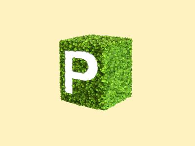 P floral p typography 3d skeuomorph vegetation
