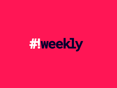 HashBang Weekly developer nerdy programming navy pink mono monospace
