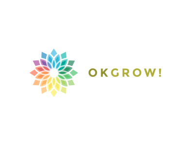 OK GROW! logo branding icon pattern simple brand clean color colorful colourful complex elegant flower grow growing growth iconography layer layered plant strong typography
