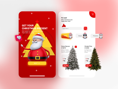 Christmas shop christmas 3d art 3d illustration minimal ux ui design