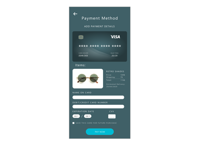 Day 2: Credit Card Checkout minimal ux ui design app