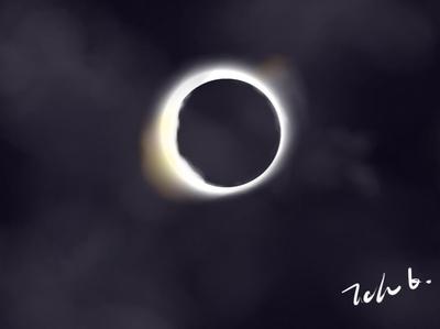 Solar Eclipse sai painting