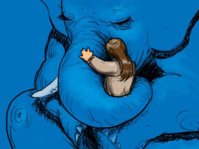 Blue elephant's hug illustration sketch blue elephant