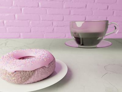 Donut & Coffee coffee animation illustration design donut blender 3d