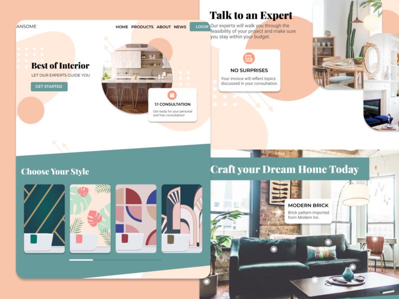Interior Design Web Mockup figma pastel website design webdesign website interior decor interior design interiordesign interior