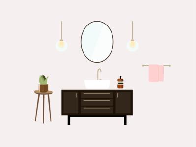 Interior Design Bathroom illustration art graphicdesign bathroom interiordesign interior design interior interior decor graphic illustration graphic design figma illustration