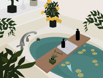 Relaxing Herbal Bath bathroom bathtub interior interiordesign graphicdesign illustration art interior design interior decor graphic illustration graphic design illustration figma
