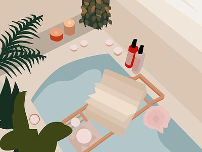 Spa Treatment relaxing bathtub illustration art interior design bathroom interior decor interior graphic illustration graphic design illustration figma