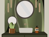 Botanical Bathroom interior graphicdesign bathroom interior design interior decor illustration art graphic illustration graphic design illustration figma