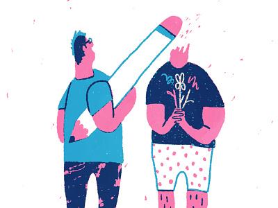 If Pencils Were Big illustration screenprint blue pink funny