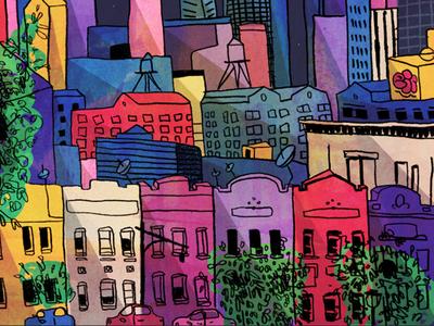 Brooklyn illustration color new york pencil