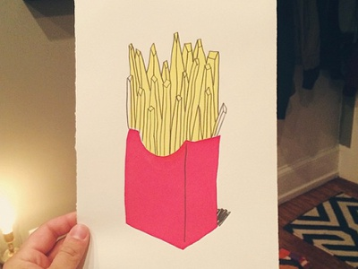 FRIES! screenprint food pencil junk red yellow frenchfries
