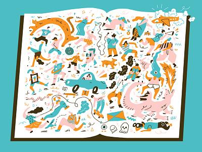 Reading is FUNdamental illustration screenprint book weird color
