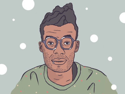 Bubbly illustration portrait color ink
