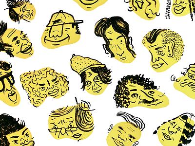 Faces doodle fun drawing portrait screenprint ink illustration